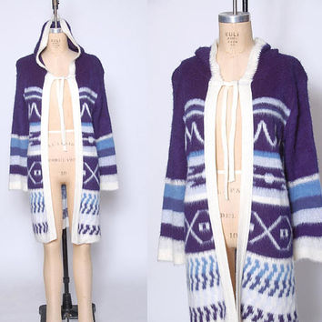 Vintage 80s Blue Sweater Coat SHAGGY Knit Sweater Printed Stripe Cardigan HOODED Sweater