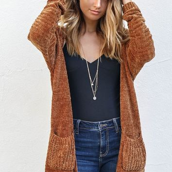 New Romantics Rust Cardigan Sweater