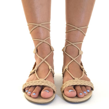 Tie It Up Sandals In Beige