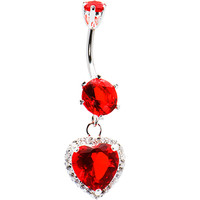 925 Sterling Silver Red CZ Dangle Heart Belly Ring | Body Candy Body Jewelry