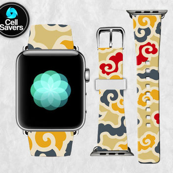 Clouds Line Art Pattern Yellow Gray Red Cute Tumblr New Apple Watch Band Leather Strap iWatch for 42mm and 38mm Size Metal Clasp Watch Print