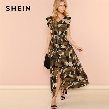 SHEIN Multicolor Weekend Casual Camouflage Ruffle Armhole Shirred Waist Split Sleeveless Dress Summer Women Going Out Dress