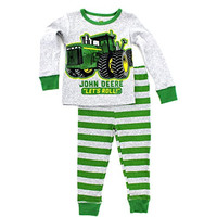 John Deere Baby Toddler Boys Pajamas Set (7, Grey Let's Roll)