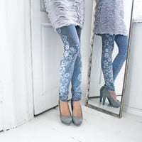 Crystal leggings- cold grey with silver and white diamond print