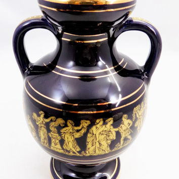 Blue and Gold, Greek Vase Made in Rhodos, Hand Made, 24K Gold Hand Painted Vase, Appears Black and Gold