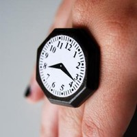 fake clock ring by alliterations on Etsy