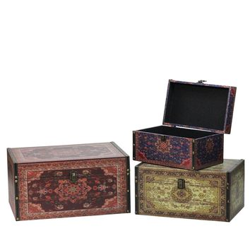 """Set of 3 Oriental-Style Red Brown and Cream Earth Tones Decorative Wooden Storage Boxes 17.25"""""""