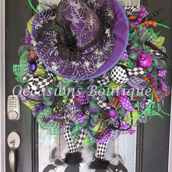 XL Halloween Wreath, Halloween Witch Wreath, Halloween Decoration, Halloween Party Decor, Door Hanger, Front Door Wreath, Witch