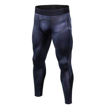 2018 Men Running Tights Compress Yoga Pants GYM Exercise Fitness Leggings Workout Basketball Exercise Train Sports Clothing 4010