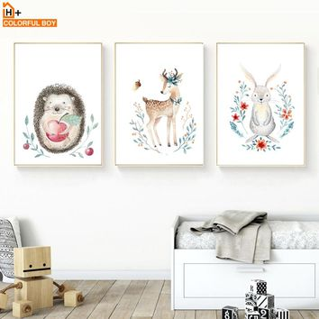 COLORFULBOY Deer Rabbit Hedgehog Wall Art Print Canvas Painting Nordic Poster Cartoon Animal Wall Pictures Baby Kids Room Decor