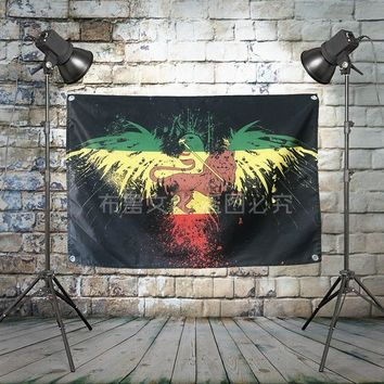 """Bob Marley"" Large Reggae Rock Flag Banners Four-Hole Wall Hanging Painting Bedroom Studio Party Music Festival Background Decor"