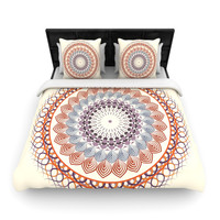 "Famenxt ""Vintage Mandala"" Yellow Multicolor Woven Duvet Cover"