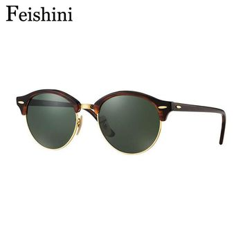 FEISHINI UV400 Star Protector Glasses Men Mirror Brand Oculos 2018 Steampunk Personality Oval Sunglasses Women Polarized Vintage