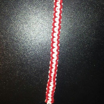 Red / white paracord parachute cord 550/325 bracelet with survival buckle or regular buckle