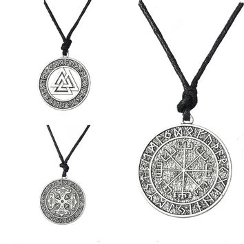 Vegvisir Valknut Odin's Symbol of Norse Cross Runes Jewelry Warrior Scandinavian Amulet Collares Ethnic Viking Necklace Men
