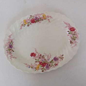 """Vintage Spode China-Platter-13""""-Ferry Dell Pattern-Made in England-Multicolor Floral Sprays-Swirl Rim-Replacement China"""