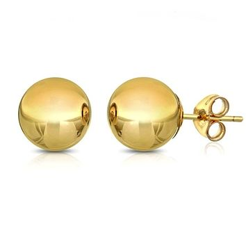 6mm Classic Ball Stud Earring - 14K Gold Plated