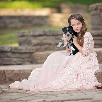 DCCKWJ7 half sleeve vintage rustic lace girls dress for photograph props tulle pink dress for girls beach flower girl dress for weddings