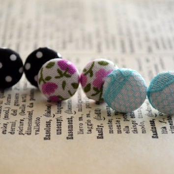 Fabric Button Earrings, Party Trio,  Cute Button Earrings, Fun Theme, Party Favors, Birthday Gift, Hipster Trendy Chic