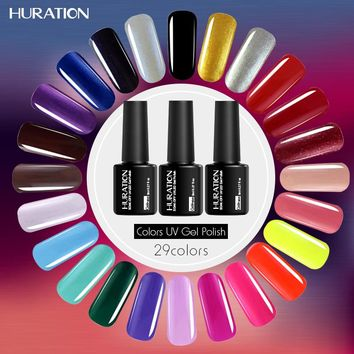 Huration Shining Manicure Long Lasting 8ML 29 Colors Optional Nail Gel Polish UV Led Easy Clean Nail Art Cheap Gel Varnish