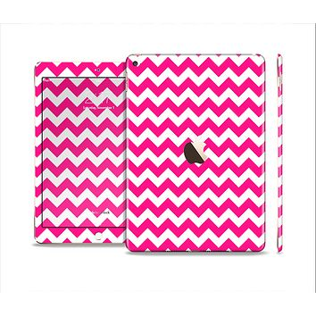 The Pink & White Chevron Pattern Skin Set for the Apple iPad Air 2