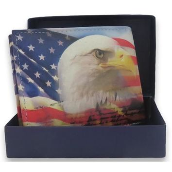 Handcrafted USA Eagle Print Bifold Leather Wallet