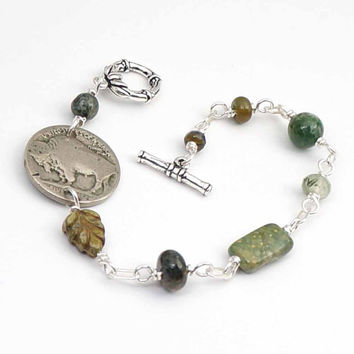 Buffalo nickel bracelet, US coin jewelry, assorted green beads, silver, 8 inches 20cm