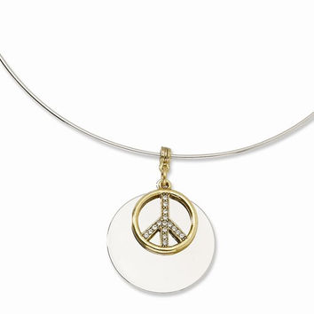 Silver-tone with Gold-tone & Crystal Peace Symbol Necklace