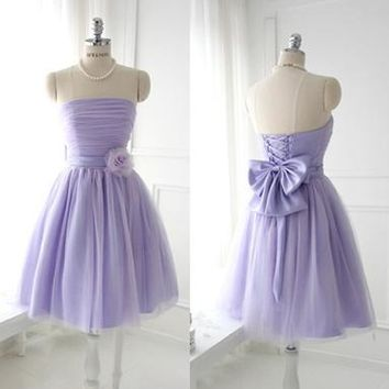 Strapless Purple Bridesmaids Dresses Pleat Quality beautiful Short Wedding Party Dress 2016 New prom Dress Gown free shipping
