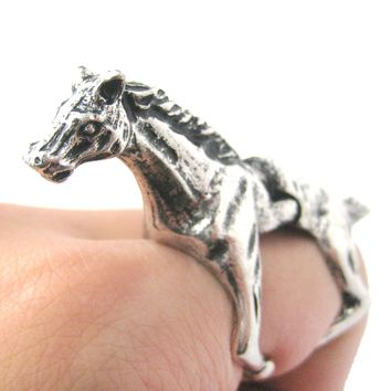 3D Horse Pony Shaped Animal Wrap Armor Knuckle Joint Ring in Silver | Size 5 to 9