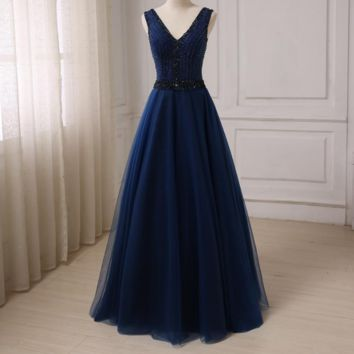 New Navy Prom Dresses Long Deep V-neck Sleeveless Sexy A-line Tulle Prom Dress Beaded Sequin