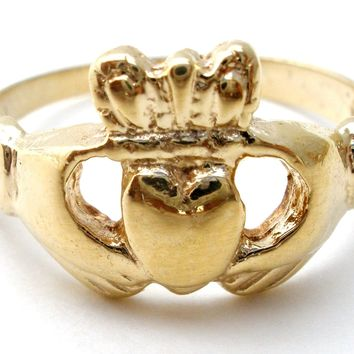 14K Yellow Gold Claddagh Ring Size 4.5 Vintage