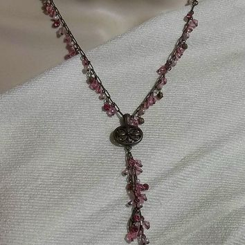 "Vintage Victorian Style Pink Glass & Pink Pearl Beaded Pewter Floral Filigree Pendant Choker Necklace w/ 3"" Beaded Chain Dangle (16"" -19"" Adjustable)"