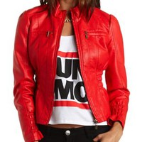 Faux Leather Moto Jacket by Charlotte Russe - Red