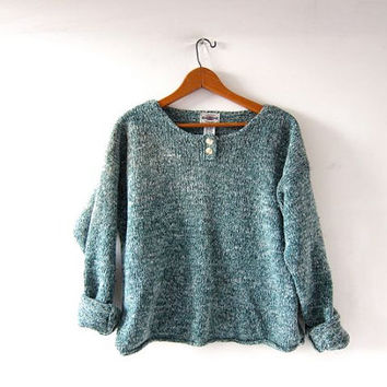 vintage green speckled sweater. Cropped boxy sweater. henley sweater.