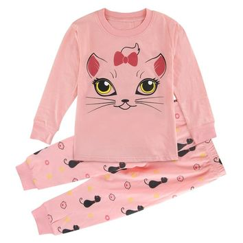 Kids Girls Pajamas Child Sleepwear Children Unicorn Cat Pyjamas Kids Winter Spring Suit Pijamas Nightwear Clothing Set
