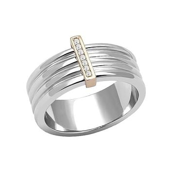 Modern Woman - Women's Stainless Steel Ridged Rose Gold Two Tone Ion Plated CZ Ring