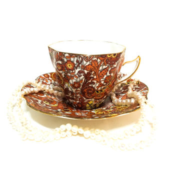 Rosina Tea Cup and Saucer, Paisley Chintz Tea Cup, Red Orange & Yellow, Cottage Chic Decor, English Bone China, 1950s, Vintage