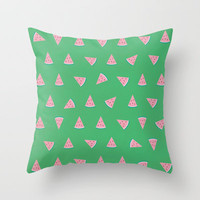 Pink Sweet Watermelon Picture Throw Pillow by 1986