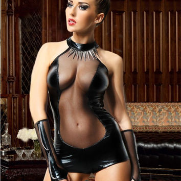 Black Mesh Cut-Out Leather Bodysuit