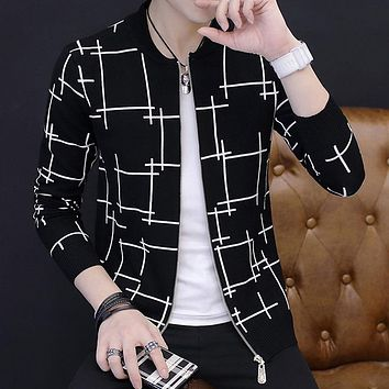 Men sweater cardigan zipper 2017 autumn and winter Korean style male sweater slim o-neck trend Knitted outerwear teenager boy