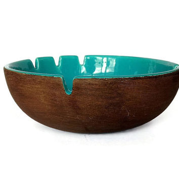 Large Pottery Bowl Ashtray, Turquoise, Brown, Mid Century, 1960s