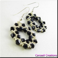 Hoop Earrings Black and Silver Seed Bead Beadwork