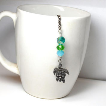 Tea Infuser and Crystal Beaded Charm Green and Blue Sea Turtle Houseware Ocean Gift Turtle Tea Infuser Handmade Artisan Tea Lover's Gift