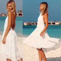 Foreign trade dress backless lace dress hot style beach dress