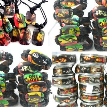 MIXMAX New 30pcs Bob Marley RASTA Jamaica Reggae mixed jewelry stainless steel rings Resin necklaces and cuff bracelets 30 IN 1