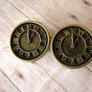 "Pair of Antique Brass Clock Plugs - Girly Plugs - Feminine Gauges - 5/8"", 3/4"", 7/8"", 1"""