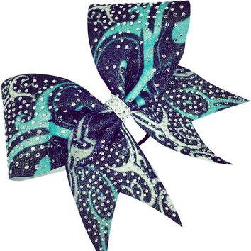Sublimated glitter bow with rhinestones