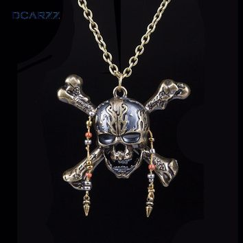 Pirates of the Caribbean 5 Necklace Dead Pirate Skull Capitan Pendant with Beads