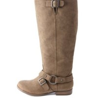 Belted Knee-High Moto Boots by Charlotte Russe - Taupe